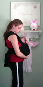 side view of baby k'tan sling carrier.