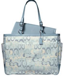 blue coach diaper bag.