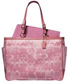 pink coach brand diaper bag.